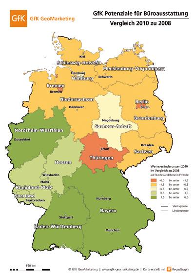 Verschiebung des Potenzials Büroausstattung 2008-2010, GfK GeoMarketing