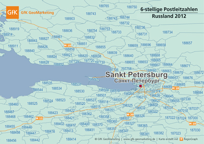 Detaillierte Postleitzahlenkarten für Russland - GfK GeoMarketing