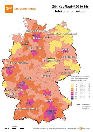 Sortimentskaufkraft für Telekommunikation 2010 - GfK GeoMarketing