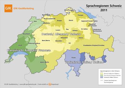 Die Karte der Sprachregionen Schweiz gehört zum digitalen Kartenpaket 2011 von GfK GeoMarketing.