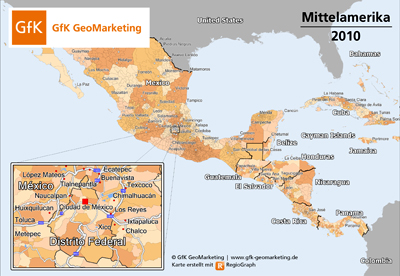 Aktuelle Kartengrundlagen für ganz Mittel- und Südamerika von GfK GeoMarketing