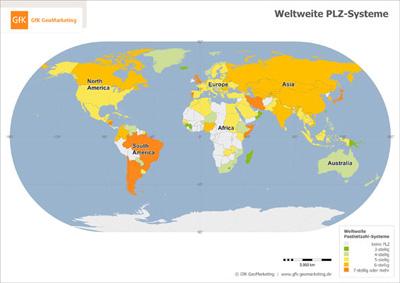 Kostenloses Sample für Oracle: Weltkarte der PLZ-Systeme - GfK GeoMarketing
