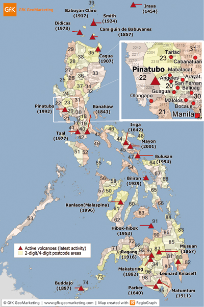 Postcode and volcanoe map of the Philippines - mapping Nat Cat risk - GfK GeoMarketing