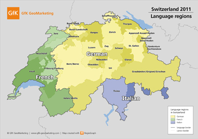 The map of Switzerland's language regions is part of GfK GeoMarketing's 2011 digital map set.